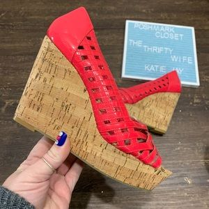 Jessica Simpson  Coral Cork Bottom Wedges Size 8.5